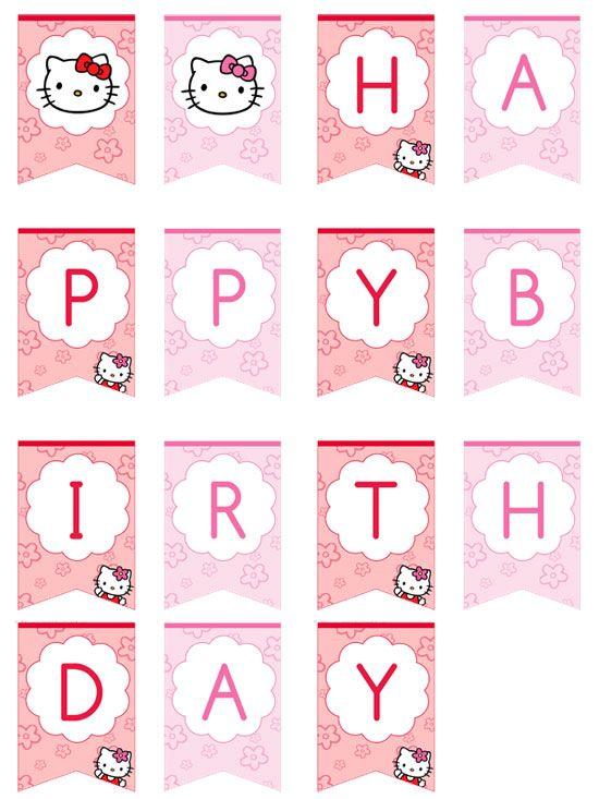 Hello Kitty Happy Birthday Banner by printabletreats  Printable