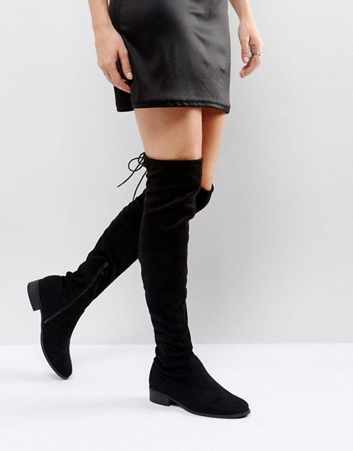 7450f8327b96 Public Desire Elle black flat over the knee boot in 2019