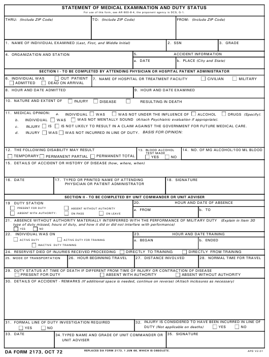 Printable Da Form 2173 Statement Of Medical Examination And Duty