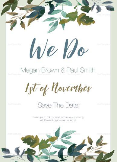Green Foliage Wedding Invitation Template Wedding Invitation - Wedding invitation templates: wedding invitation template illustrator