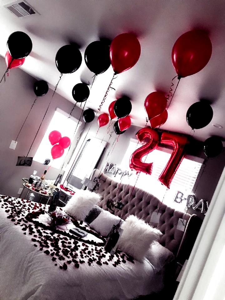 Birthday Surprise For Wife Husband Husbandbirthdaysurprises Room Decorations Diy W Birthday Room Surprise Birthday Room Decorations Romantic Room Decoration