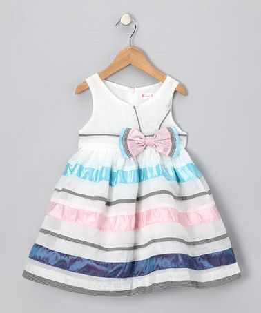 Take a look at this White, Pink & Blue Bow Dress - Toddler & Girls  by Rose Kelly & Bonny Billy on #zulily today!