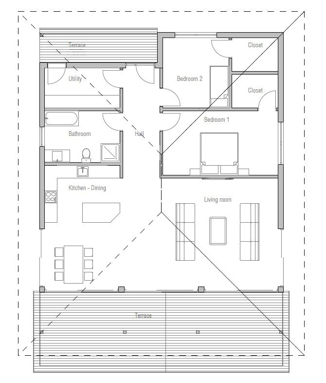 Two Bedroom Small House Plan With Open Planning, Covered Terrace, Big Bathroom, WIC In Both
