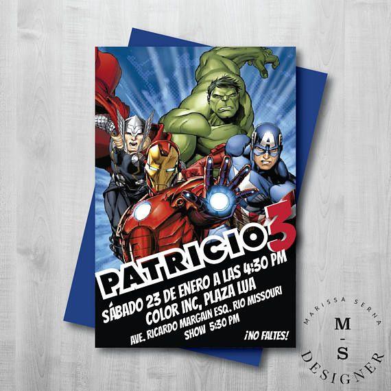 Avengers Invitación De Cumpleaños Hulk Iron Man Capitan