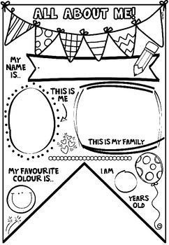 All About Me Activity-Back to School Bunting JUNIOR