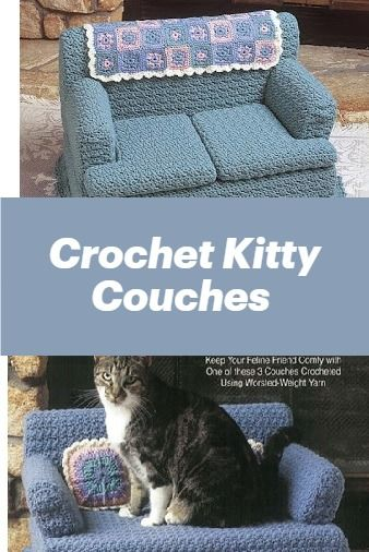 Kitty Couches Crochet Patterns Crochet Beds For Your Pet In 2020 Crochet Crochet Cat Crochet Cat Toys