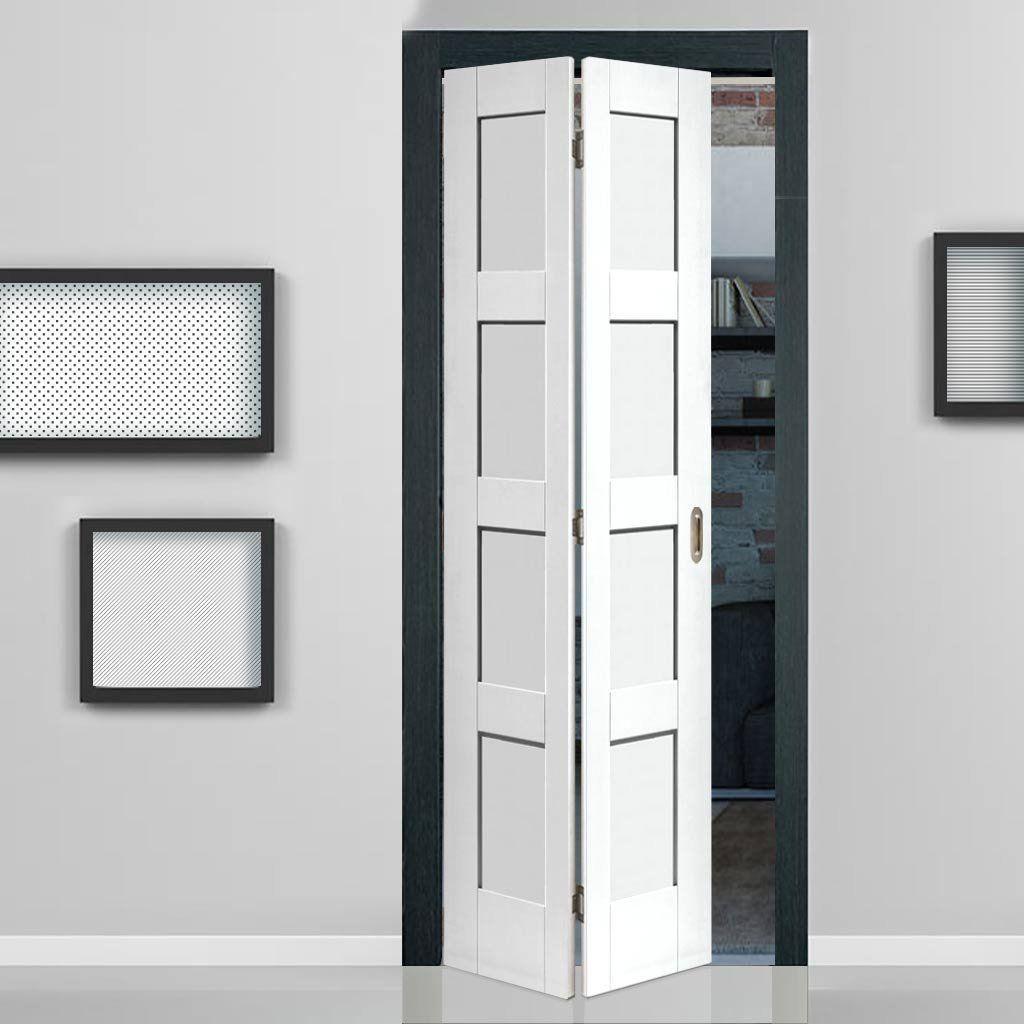 Shaker 4 Panel Bifold Door White Primed Folding Doors Interior Glass Doors Interior Bifold Closet Doors