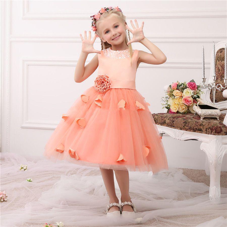 Free shipping buy best new knee length orange tulle flower girls