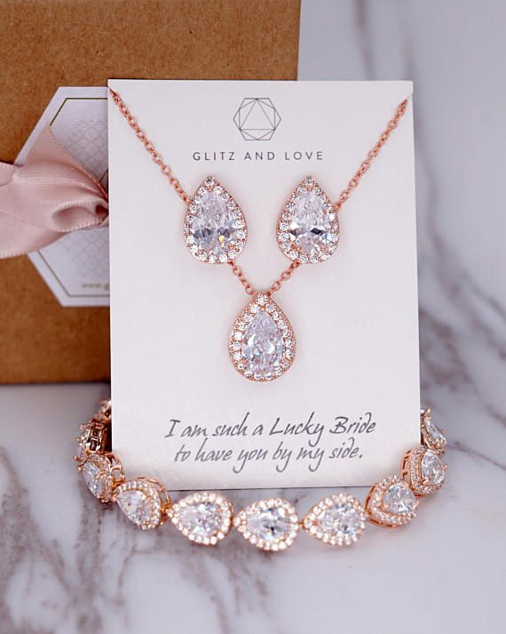 Bridesmaids Cubic Zirconia Wedding Earrings Necklace Set Rose Gold Bridal Crystal Jewellery Set Brides Rose Gold Teardrop Crystal Necklace