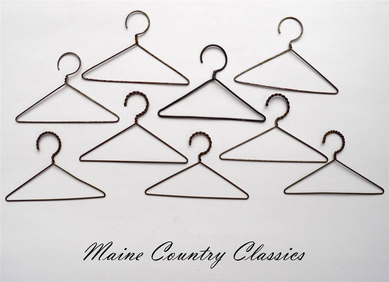 9 Antique WIRE DOLLS CLOTHES or COAT HANGERS 5 with Twisted Wire ...