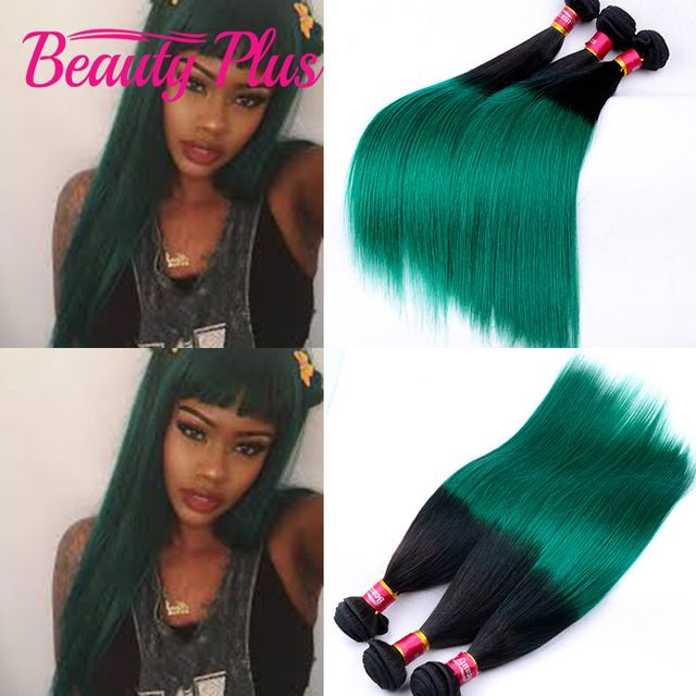 7a Two Tone Brazilian Hair Weave Bundles 1bgreen Straight Brazilian