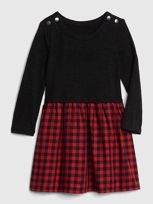 d1d4b8280c5 Gap Baby Plaid Mix-Fabric Dress Red Plaid