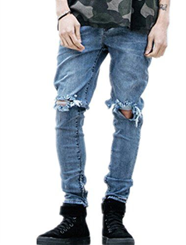 4835bfae Sarriben Mens Slim Fit Jean Knee Hole Skinny Denim Casual Stylish Jean Pant