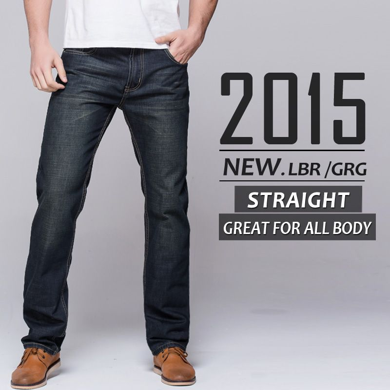 Mens Jeans straight fit classic denim blue Jeans Trousers famous ...