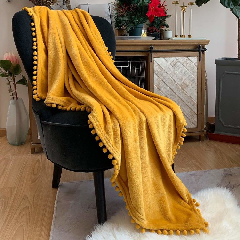22 Decorations To Help You Transform Your Dorm Room For Fall Yellow Throw Blanket Soft Throw Blanket Yellow Throw