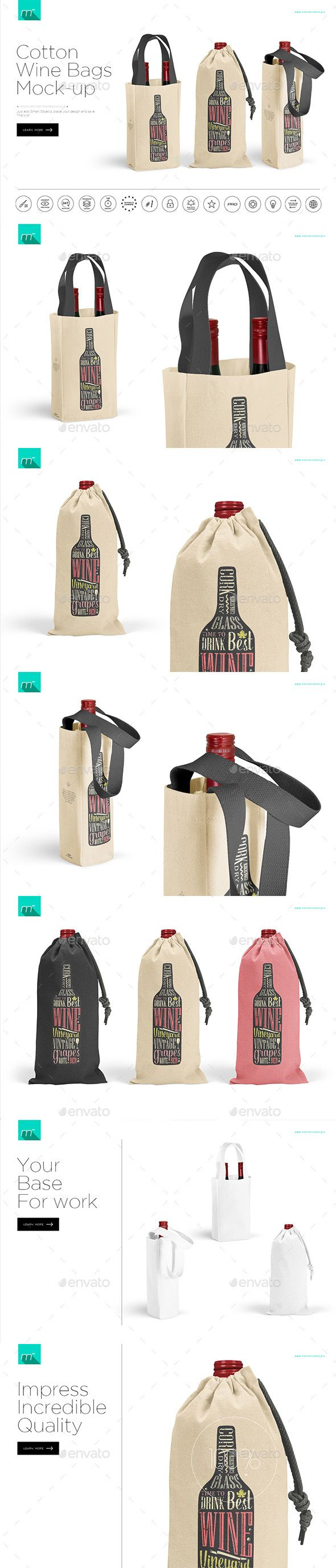 Cotton Wine Bags Mock Up Psd Template Only Available Here