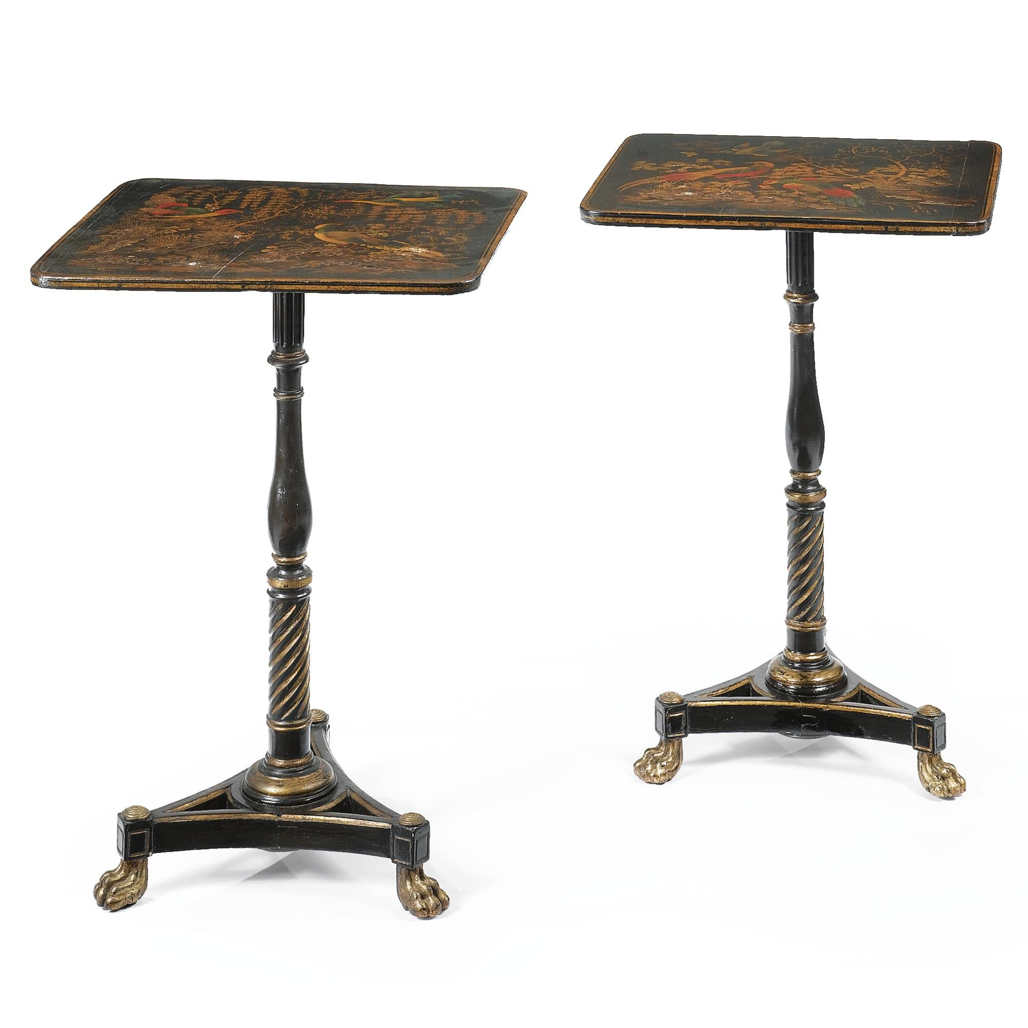 Date Unspecified A Pair Of Regency Black Japanned And