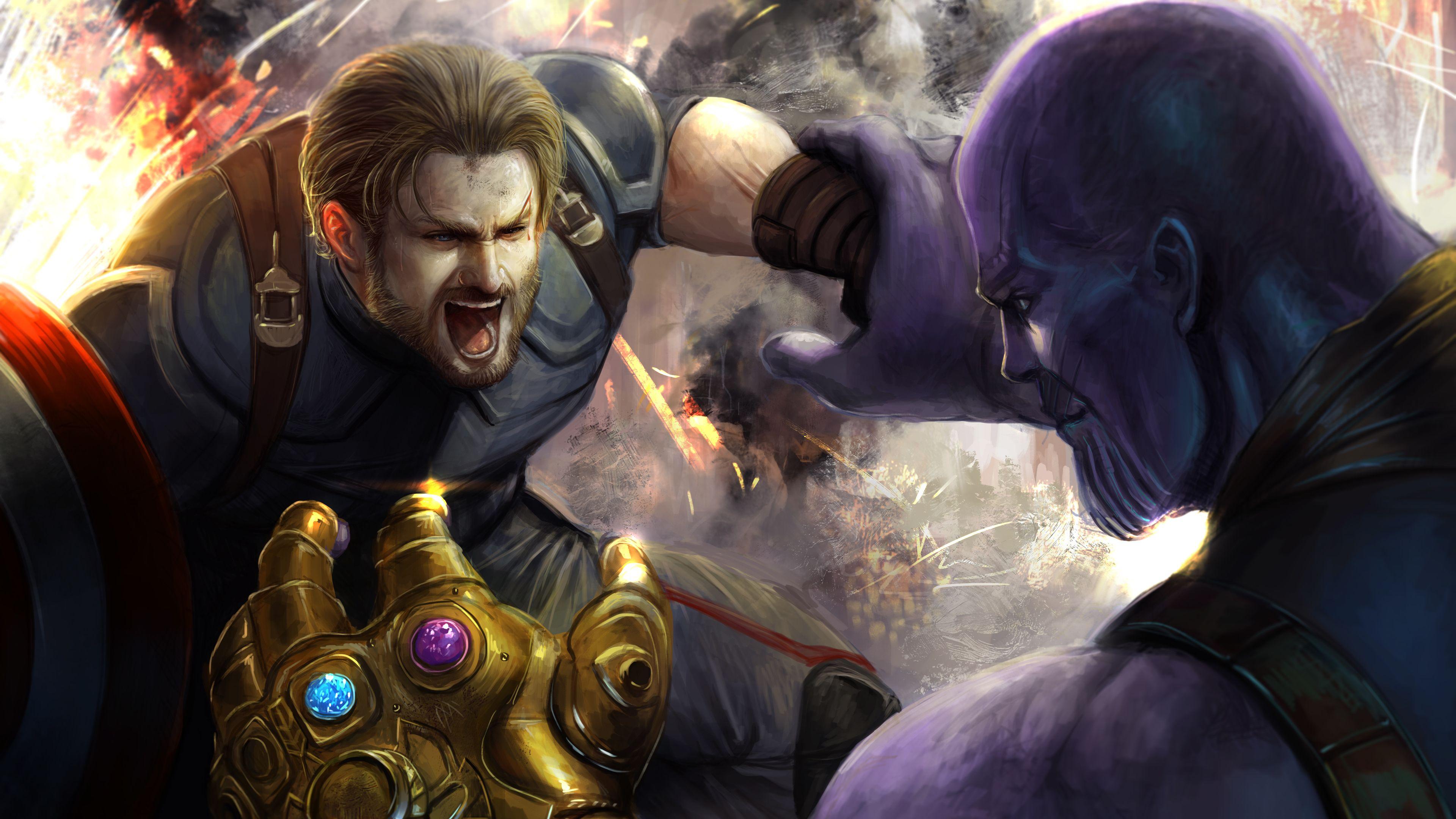 Captain Vs Thanos Art 4k Thanos Wallpapers Superheroes Wallpapers Hd Wallpapers Digital Art Wal Avengers Pictures Captain America Wallpaper Avengers Fan Art
