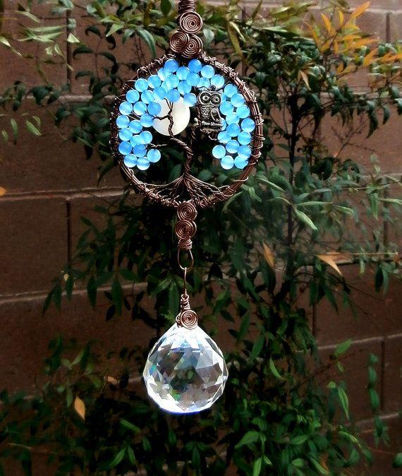Owl Full Moon Tree of life crystal suncatcher by LifeForceEnergy, $38.00