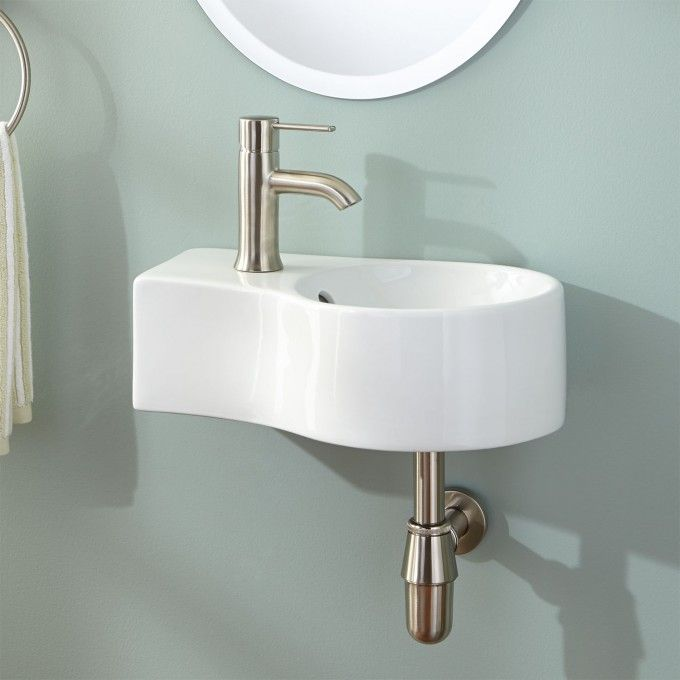White Wall Mount Sink - Single Hole Left Side | sinks | Pinterest ...