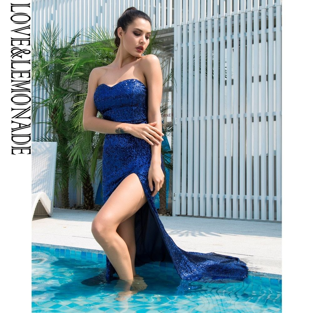Sexy Navy Tube Top Cut Out Fish Tail Shaped Elastic Sequin Material Long  Dress LM1053 2fbe87230a64