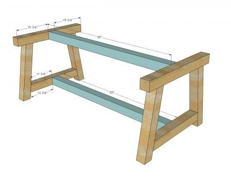 4x4 Truss Beam Table Diy Furniture Plans Woodworking