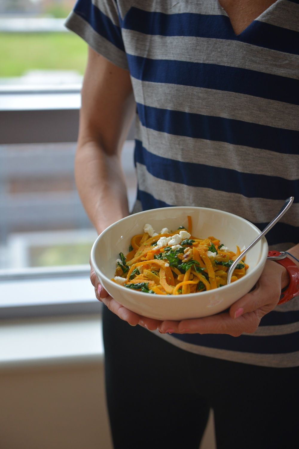 Butternut Noodles with Kale, Pesto, and Goat Cheese #athletefood
