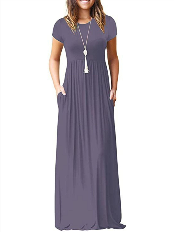 Women S Short Sleeve Loose Plain Maxi Dress Maxi Dress Long Dress Casual Long Dress [ 2896 x 2172 Pixel ]