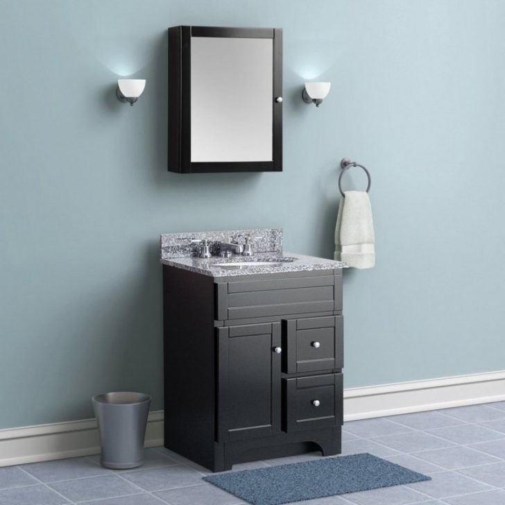 Interior Blue black bathroom decoration using black wood narrow
