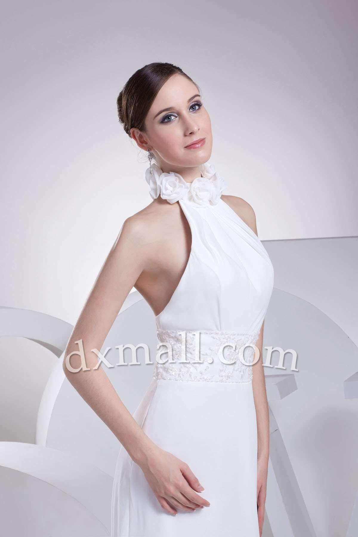 Sheath/Column Wedding Dresses High Neck Court Train Chiffon Satin White 010010401155