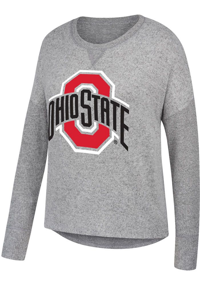 Ohio State Buckeyes Womens Grey Cozy Primary Logo Crew Sweatshirt - 16931105