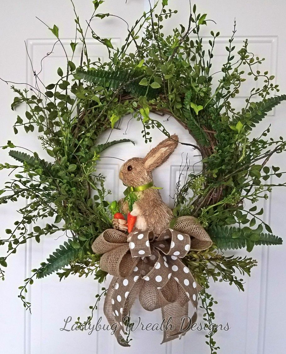 natural looking easter bunny wreath - Easter Wreaths