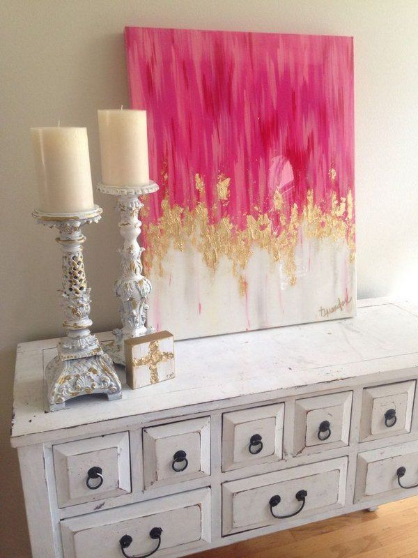 Beautiful pink and gold canvas diy projects diy wall - Wall decor painting ideas ...