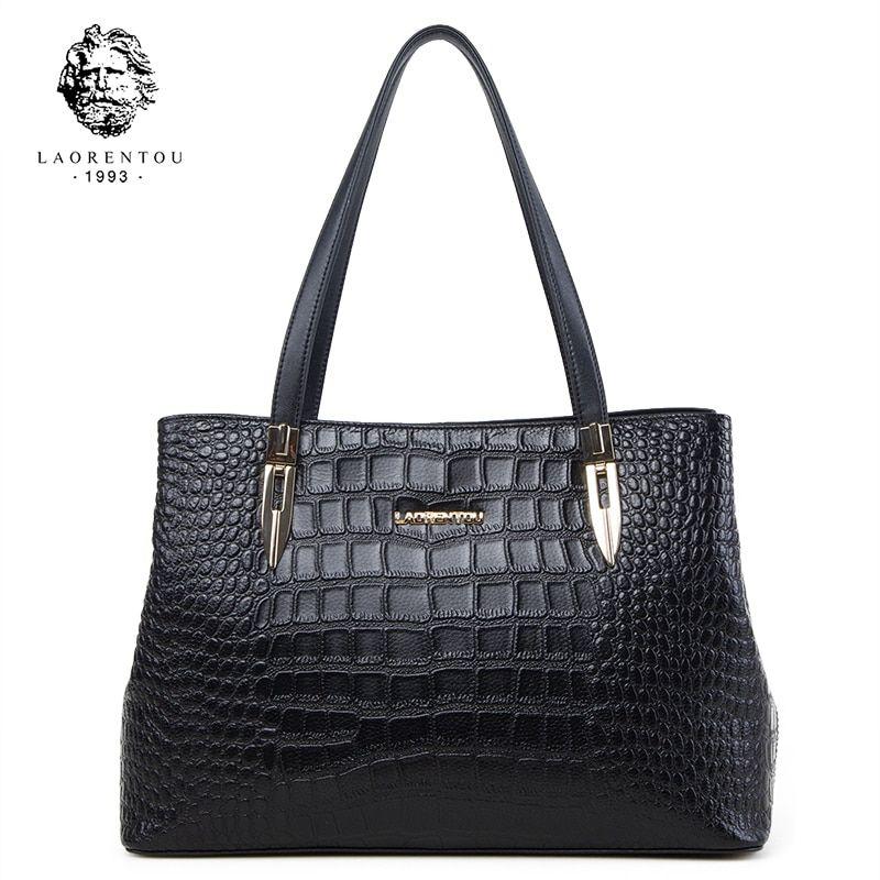 5800884e4354 Laorentou Women Bags Handbag Crocodile Top-Handle Bags Women Purse ...