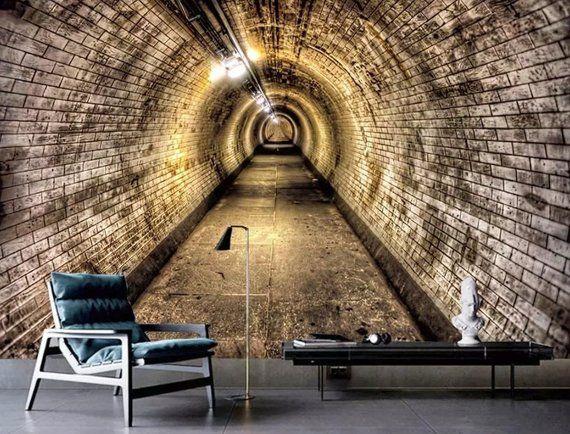 Tunnel 3d Wallpaper Dark Tunnel Wall Murals Modern Home Decor