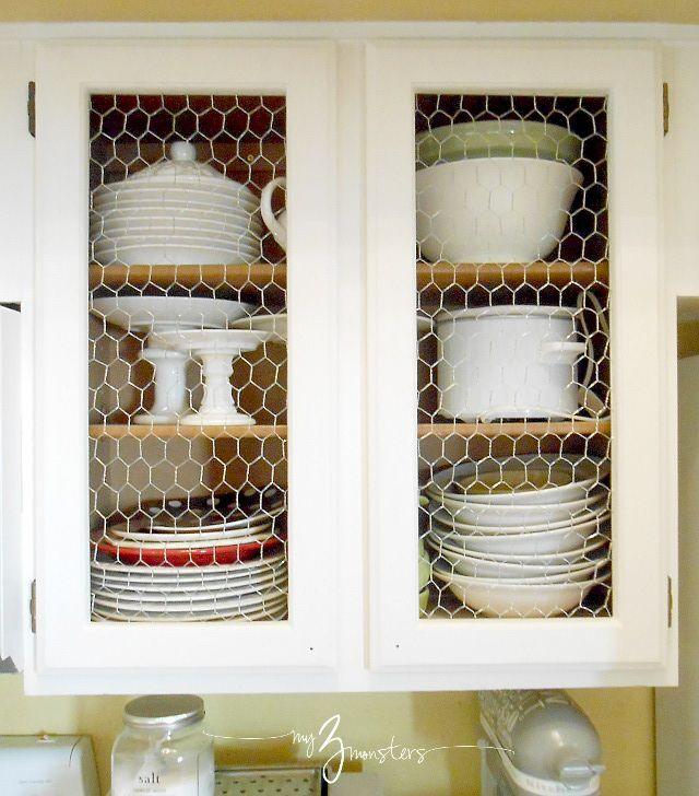 Kitchen Cabinet Facelift Part 1 Diy Kitchen Cabinets Makeover Chicken Wire Cabinets Kitchen Cabinet Doors
