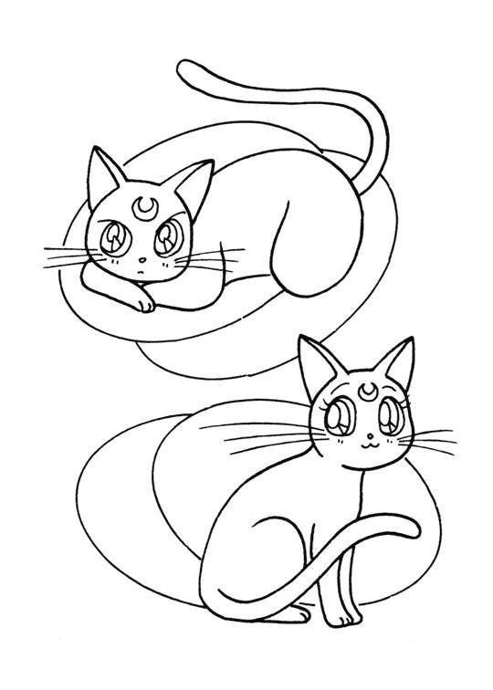 Sailor Moon Series Coloring Pages: Artemis and Luna | Sailor Moon ...