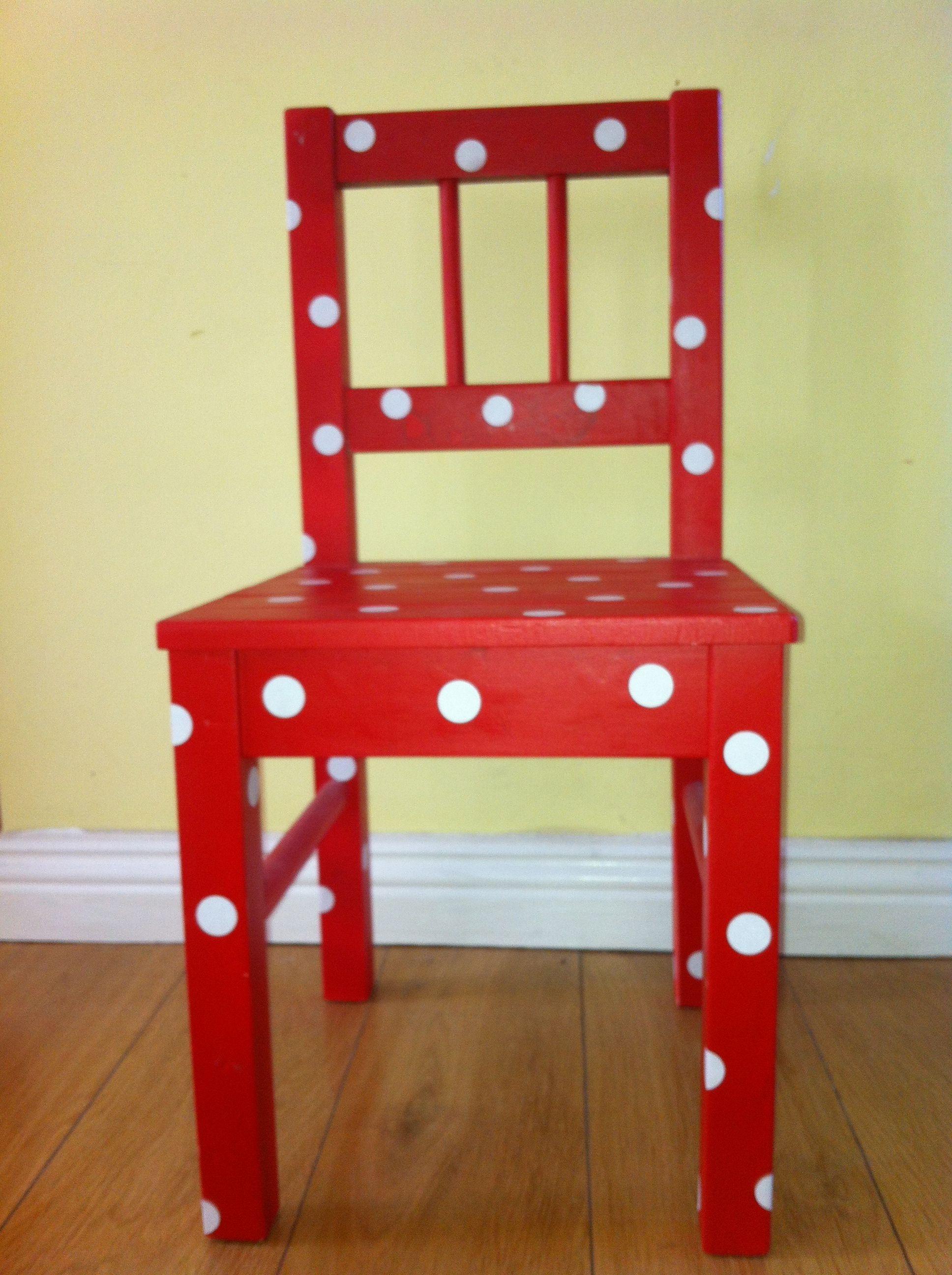 Der Alte Ikea Stuhl Hat Ein Upgrade Gebraucht Roter Lack Matt Und Weiße Große Punkte Gibts Als Aufkeber Im Schreibwarenhandel Decor Home Decor Step Stool