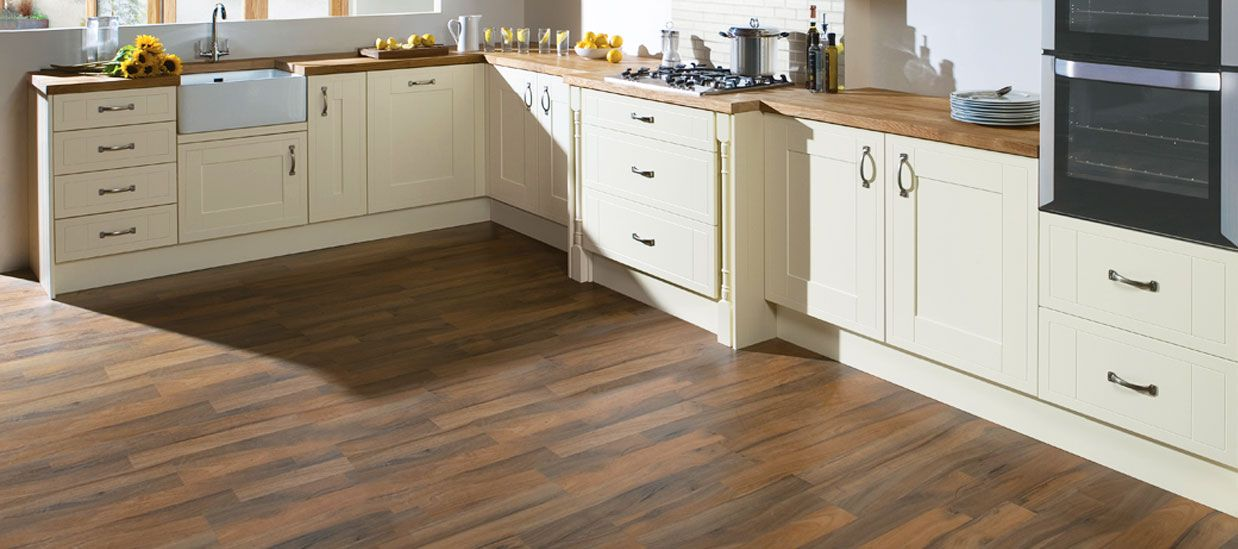 Get this look with amaya wood walnut porcelain tiles for Wood flooring kitchen ideas