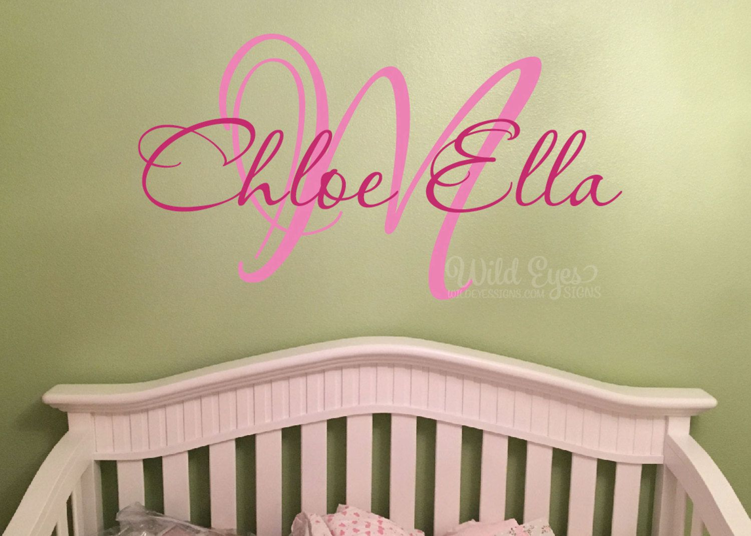Monogram Wall Decal Nursery Name Initial And Name Monogram Vinyl - Monogram wall decals for nursery