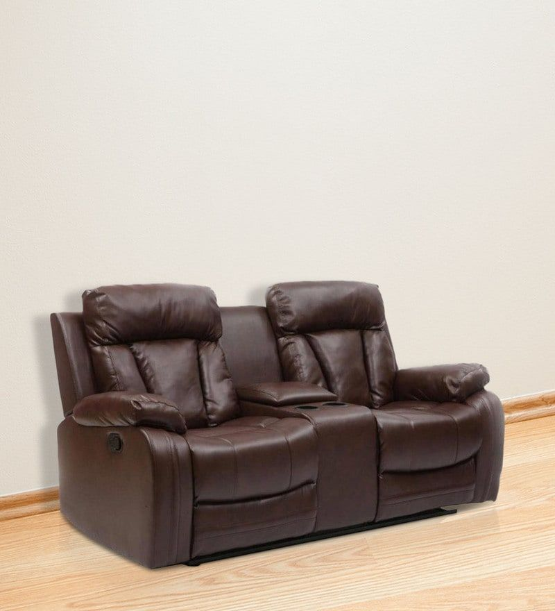 Buy Magna Two Seater Recliner Sofa In Dark Brown Leatherette By Evok Online Two Seater Recliners Recliners Furni Recliner Reclining Sofa Dark Brown Color