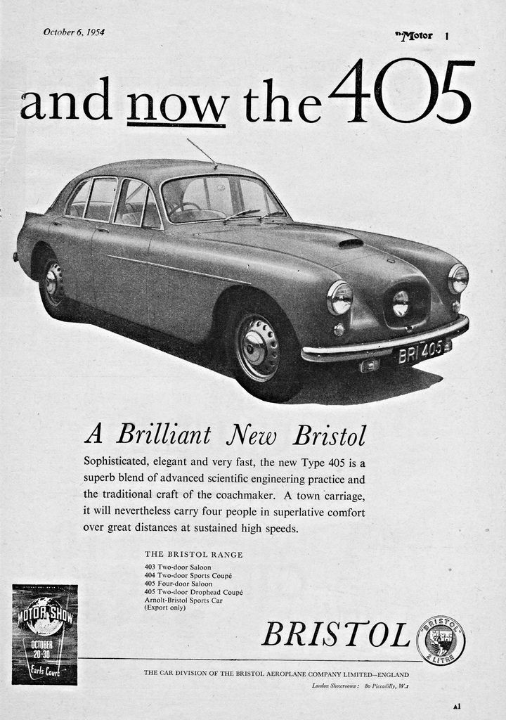 Bristol 405 Saloon cyclope à 4 portes (With images