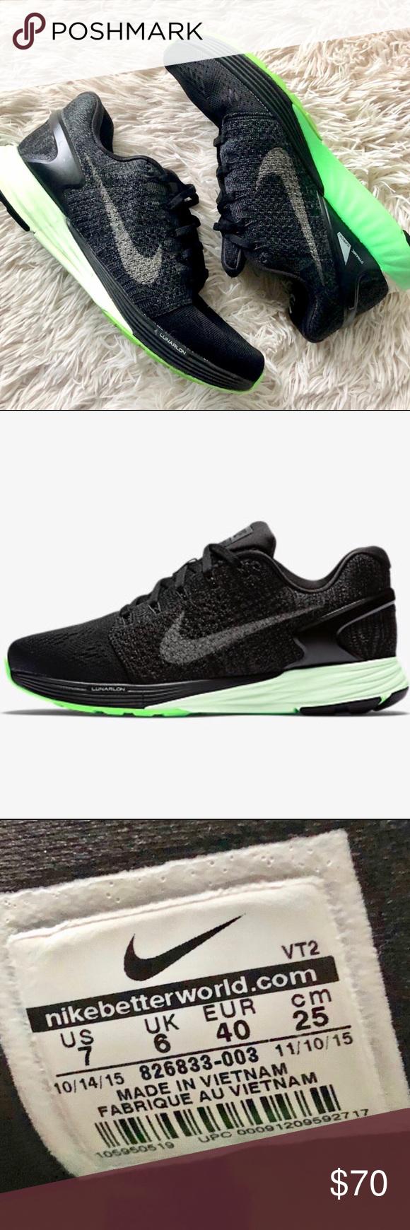 buy popular b22b2 190de Men s Nike Black   Green Lunarglide 7 Shoe, sz 7 Stylish   Sporty Mens Nike  Black Lunarglide 7 Running Shoe. Men s size 7 (fits women s size 9).