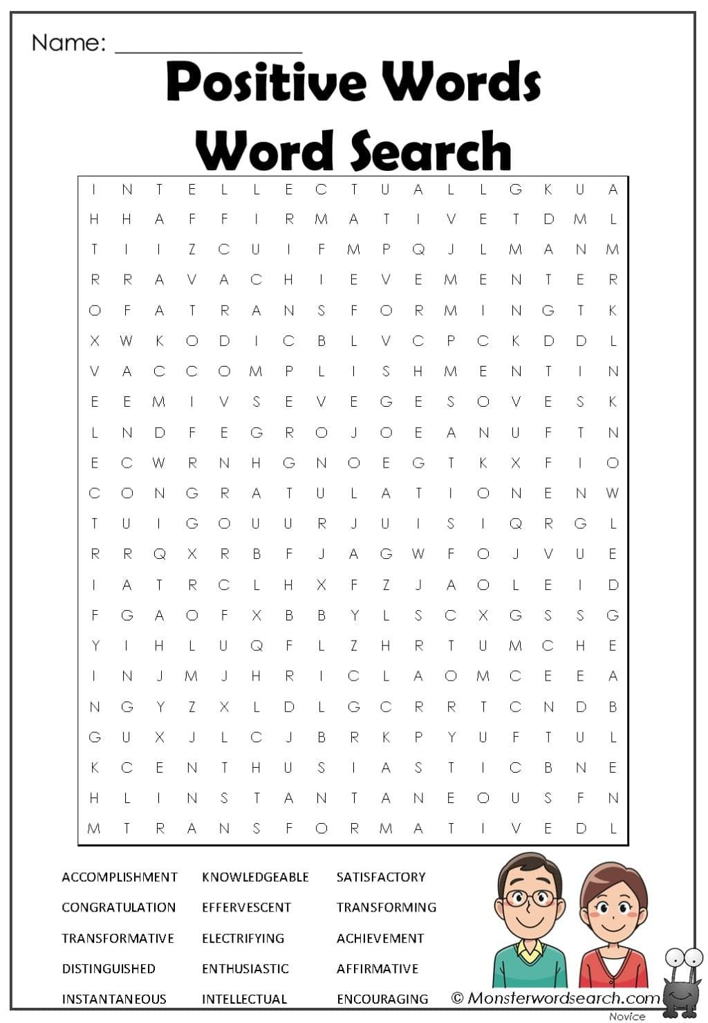Positive Words Word Search In