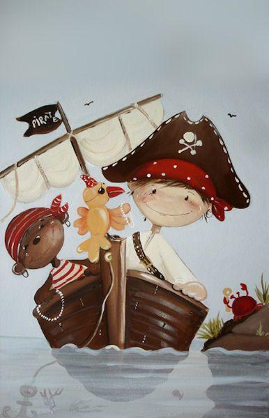 Tableau pirate et amis inspi pirates dessin bateau pirate dessin et peinture bateau - Chambre enfant pirate ...