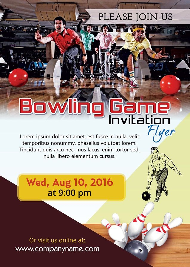Bowling Game Invitation Flyer  Flyers And Brochures