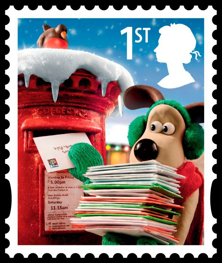 Wallace and Gromit Christmas stamp Postage stamp design