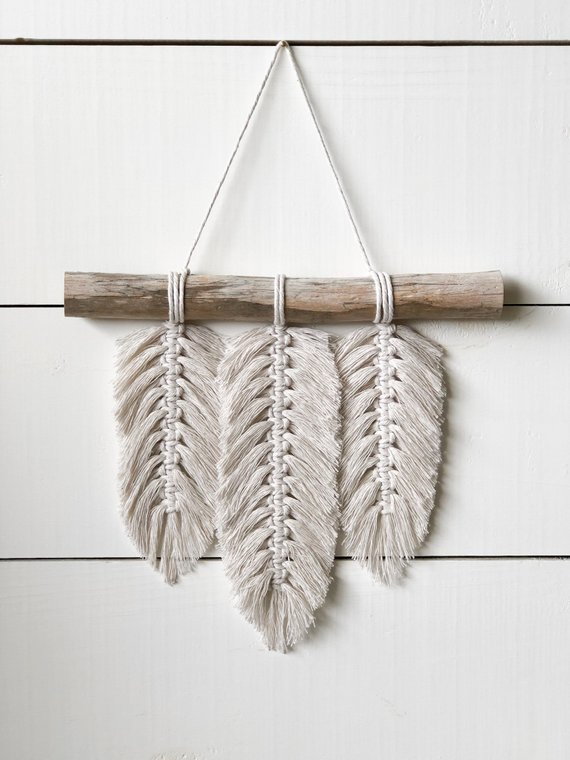 Small Macrame Wall Hanging Feathers Macrame Feathers