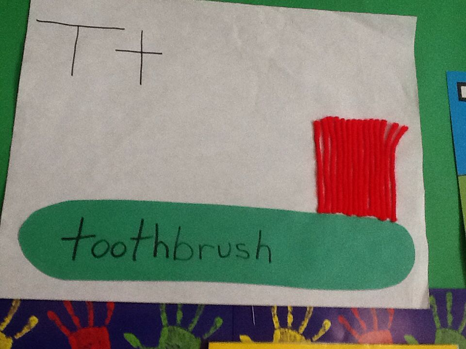 T for toothbrush  We used construction paper and yarn , & glue  the kiddos had a awesome time doing this project !! Great for fine & gross motor skills