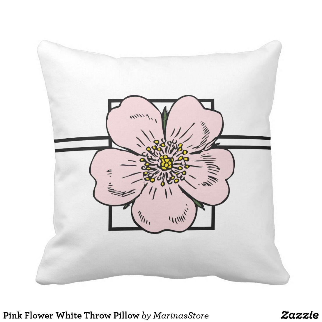 Pink Flower White Throw Pillow Homedecor Zazzle Pinkflowers Throwpillows Pillows Floral Home Comfort Blue Throw Pillows Throw Pillows Pillows